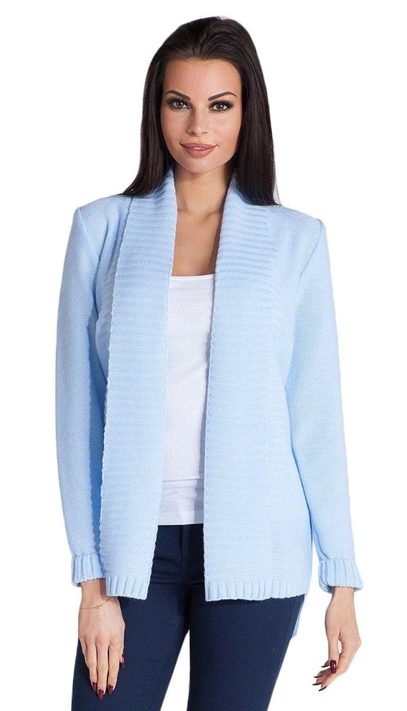 FOBYA - Womens Knitted Cardigan Cardi Jacket Dipped Hemline Long Sleeves - 475z