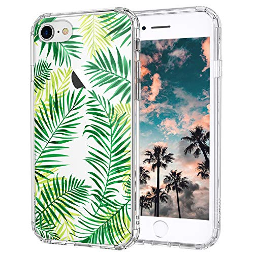 iPhone 8 Case, Fashion iPhone 7 Case, MOSNOVO Tropical Palm Leaves Clear Design Printed Transparent Plastic Hard Back Case with TPU Bumper Protective Case Cover for iPhone 7 (2016) / iPhone 8 (2017)