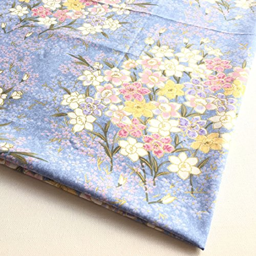 Japanese Kimono Pattern Blue River of Sweet Flower in Beautiful Spring, Lilly and Sakura Cotton 36 by 36-Inch Wide (1 Yard) - (JP026)