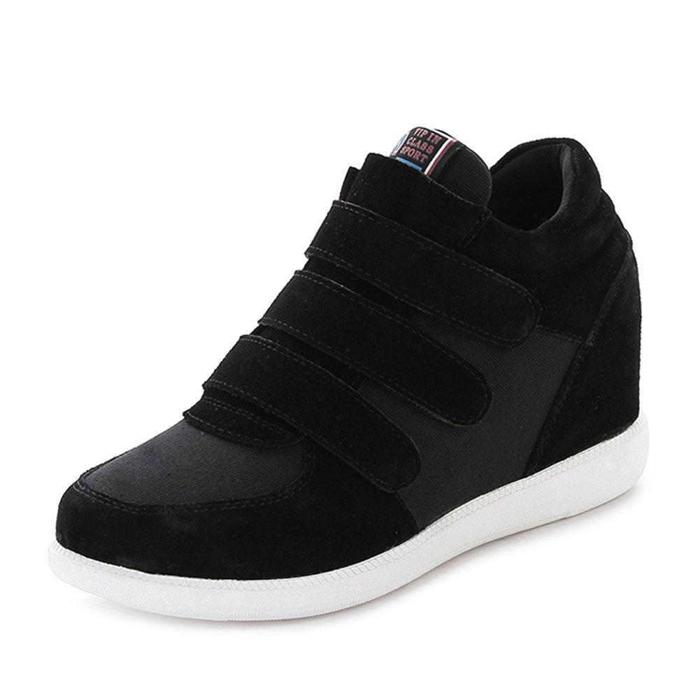 rismart Women Classic Middle Hidden Wedge Heel Suede Upper Hook&Loop Fashion Sneakers B01GO44RE0 5.5 B(M) US|Black