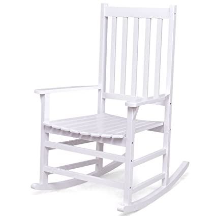 Giantex Rocking Chair Solid Wood Rocker Indoor Outdoor Porch Patio  Furniture (White)