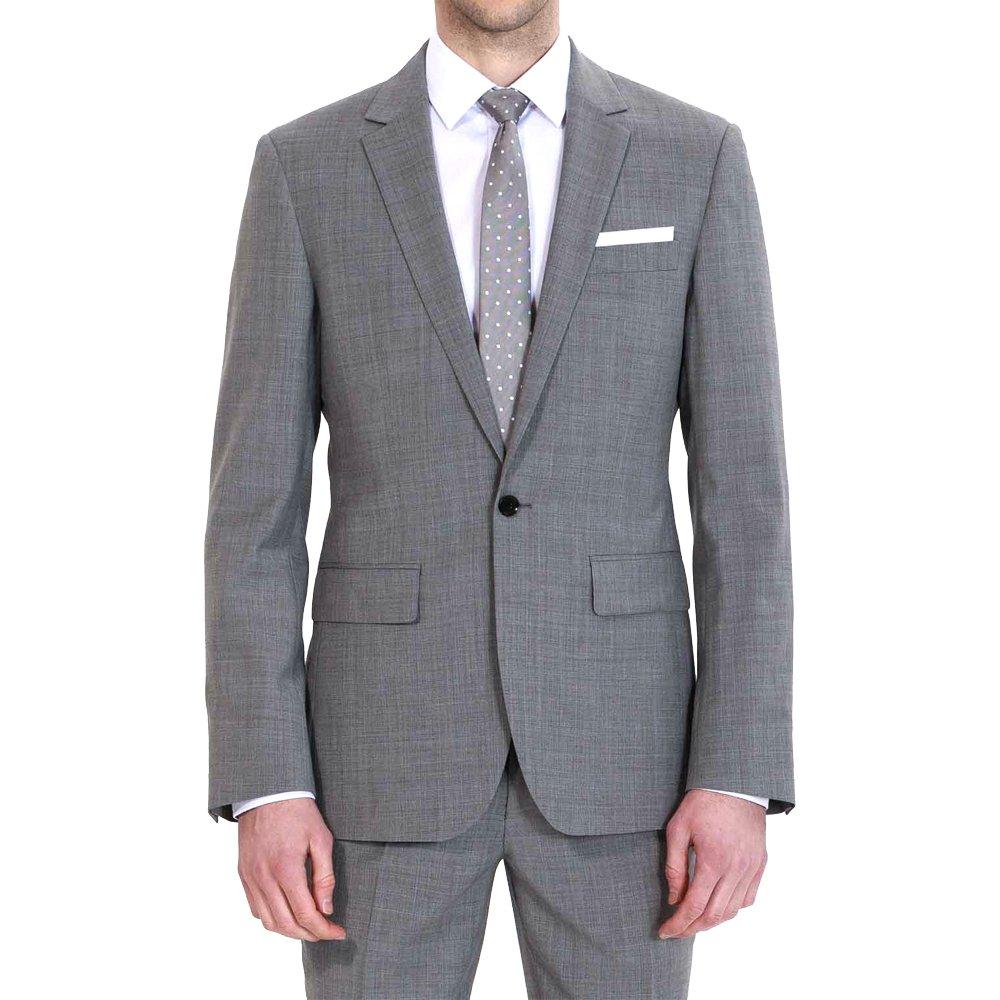 HBDesign Mens 2 Piece 1 Button Notch Lapel Slim Trim Fit Business Suite Grey 58R