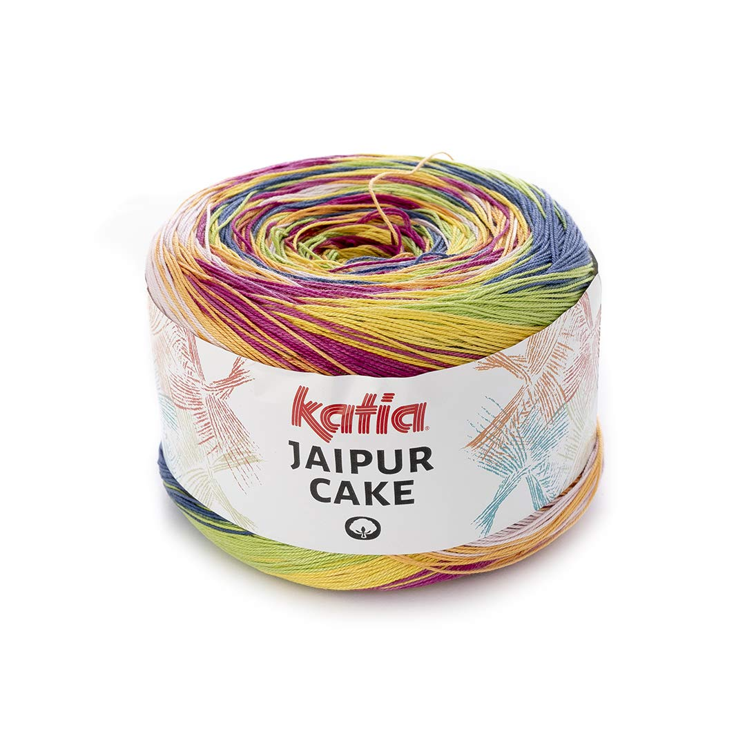 Katia Jaipur Cake Colour 406, lace bobbel Cotton Colour Gradient Yarn lace for Knitting and Crochet, 200 g Approx. 1100m