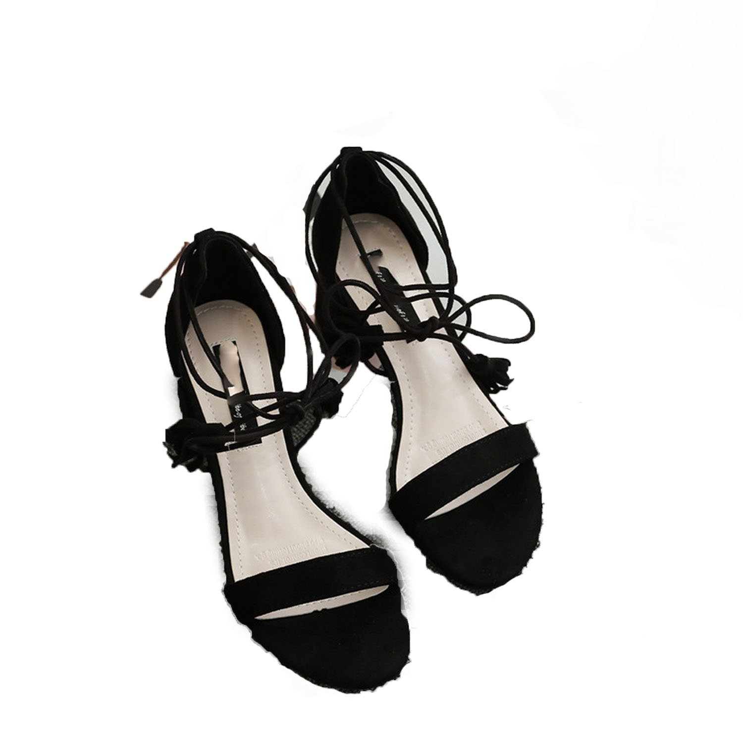 Special-Shop high-Heeled Shoes Suede Round Hollow Open Toe Ladies Sandals Shoes