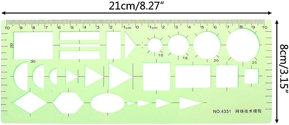 Junlinto Pro Plastique Cercles carr/é Rond g/éom/étrique Mod/èle de R/ègle Pochoir Outil de Mesure