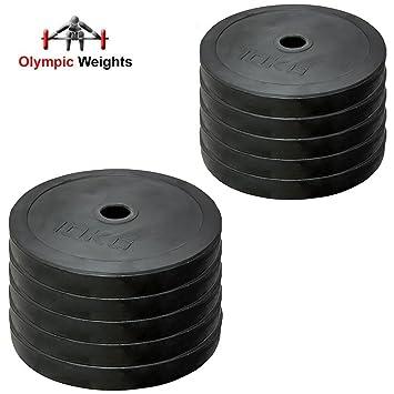 Set de discos olímpicos para pesas de MaxStrength, de goma, con orificio de 5 cm, para entrenamiento en gimnasio o en casa: Amazon.es: Deportes y aire libre