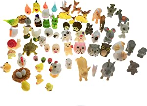 SIX VANKA Miniature Animals 65pcs Mini Resin Decoration Set for Childrens Birthday Party Kids Presents Doll House Pretend Play Toys DIY Garden Flowerpot Succulent Planter