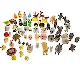 SIX VANKA Miniature Animals 65pcs Mini Resin Decoration Set for Childrens Birthday Party Kids Presents Doll House Pretend Pla
