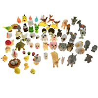 SIX VANKA Miniature Animals 65pcs Mini Resin Decoration Set for Childrens Birthday Party Kids Presents Doll House…