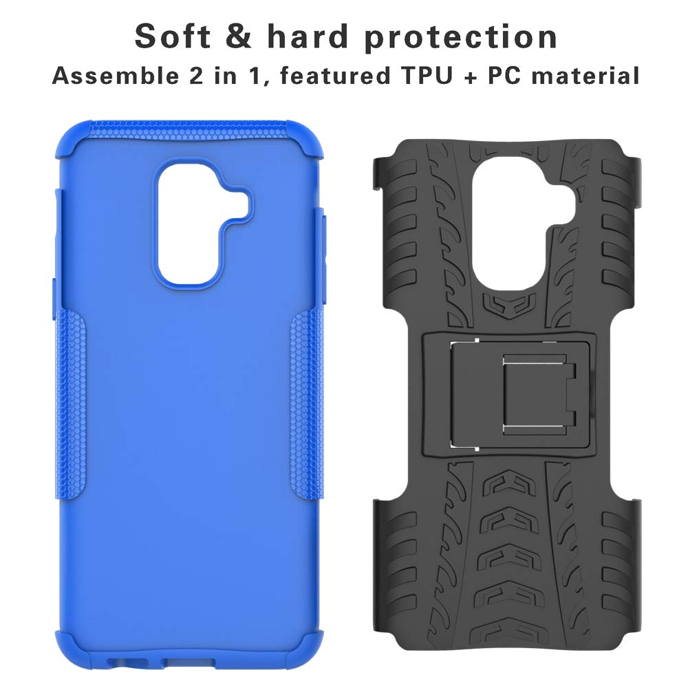 ,Black Galaxy A6 Plus 2018 Case,Mama Mouth Shockproof Heavy Duty Combo Hybrid Rugged Dual Layer Grip Cover with Kickstand for Samsung Galaxy A6 Plus 2018 //SM-A605G Not fit Galaxy A6 2018