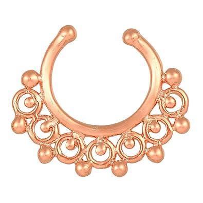 Fake tabique Piercing Rose Golden círculos con bola acero ...