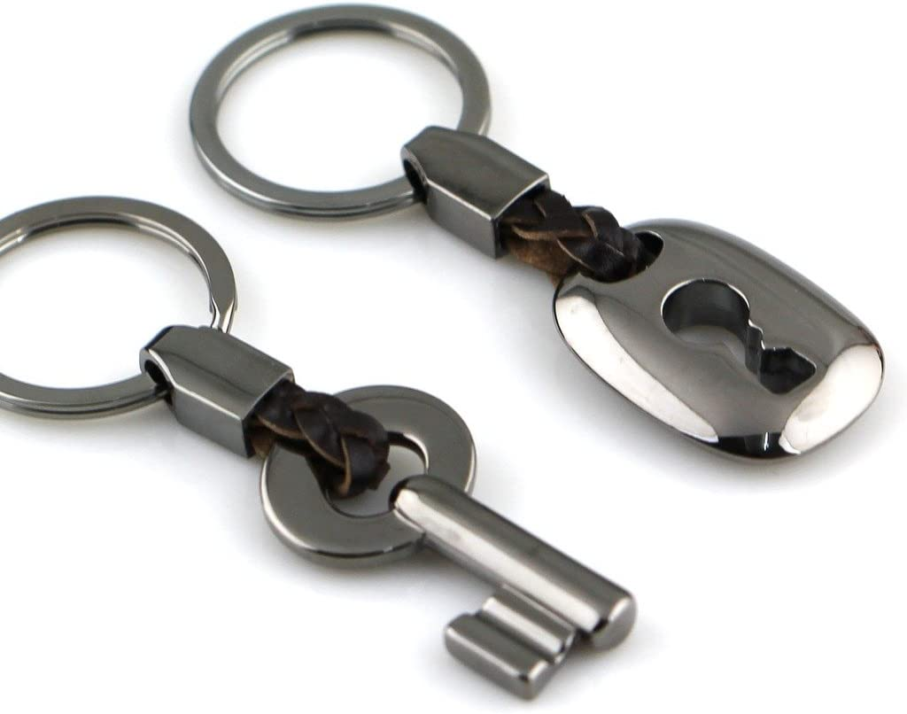 Copper MAYCOM Creative Fashion Leather Couple Keychain Key Chain Ring Keyring Key Fob Key /& Lock 83513-2
