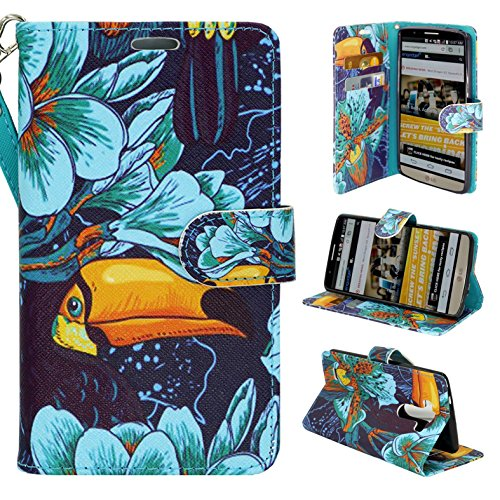 (LG G3 Phone, Wallet Card Holder Customerfirst, PU Leather Pouch Flip Style Case Cover with Stand for LG G3 (Parrott) )