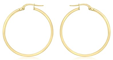 f288622cf Image Unavailable. Image not available for. Colour: Carissima Gold Women's 9  ct Yellow Gold 30 mm Polished Rectangular Tube Creole Hinged Post Earrings