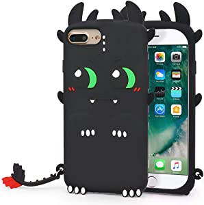 YONOCOSTA Cute iPhone 7 Plus Case, iPhone 8 Plus Case, Funny Fashion 3D Cartoon Animals Black Dragon Soft Silicone Shockproof Case Cover for iPhone 7 Plus/iPhone 8 Plus (5.5