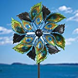 Bits and Pieces- Peacock Feather Wind Spinner - 110cm Decorative Kinetic Wind Mill - Unique Outdoor Windspinner Lawn and Garden Décor, Lawn Ornament