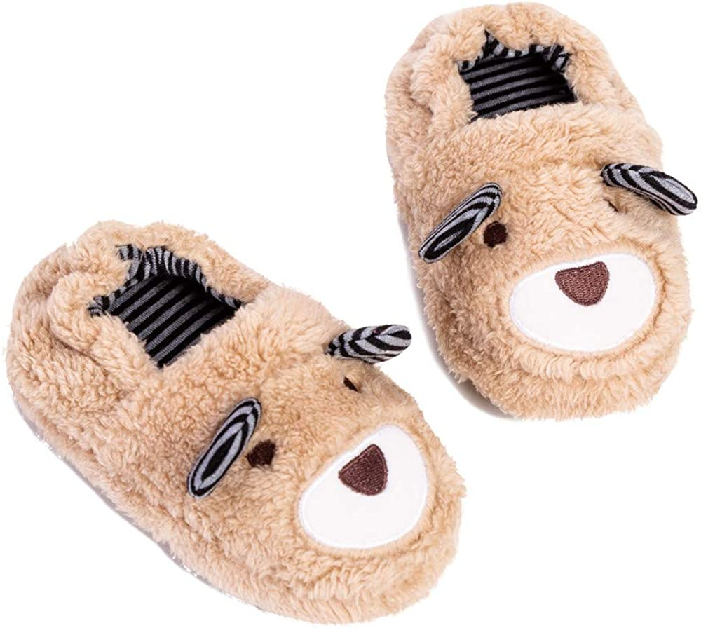 Toddler Boys Slippers Cartoon Cute Animals Plush Warm Home Shoes