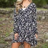 Overmal Womens V-Neck Mini Long Sleeve Print Bandage Beach Dress