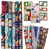 Gift Plus 12 Rolls Christmas Wrapping Paper + 100 Small Holiday Gift Tags Stickers, Premium Quality Gift Wrap Paper, Gift Wrapping Paper Kit With Reversible Sheets, Variety Bulk Set, Wholesale