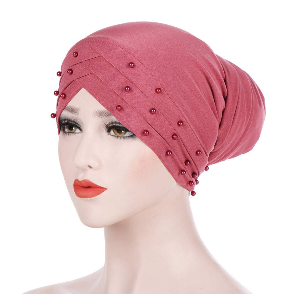 Unpara Women India Hat with Beading Muslim Ruffle Beanie Scarf Turban Wrap Cap for Cancer Chemo (Black)