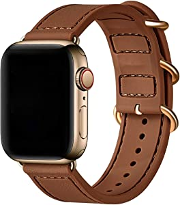 BesBand Compatible with Apple Watch Bands 44mm 42mm 40mm 38mm for Women Men,Soft Silicone Sport Strap Replacement Band for Apple Watch SE & iWatch Series 6/5/4/3/2/1 (Brown/Gold, 42mm 44mm)