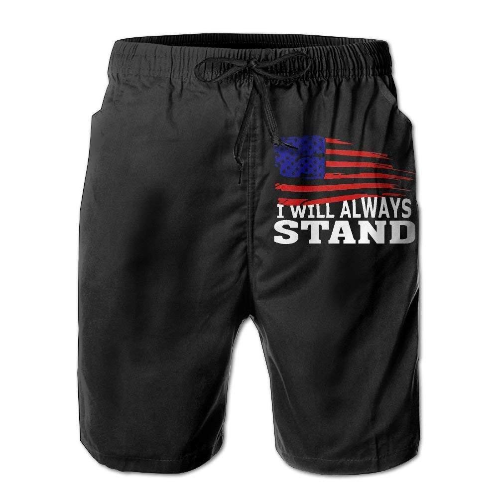 I Will Always Stand USA Flag Mens Lightweight Beach Board Shorts Casual Classic Swim Trunks with Pockets