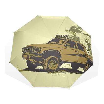 EZIOLY Paraguas de Viaje para vehículos Militares, Ligero, Anti Rayos UV, Paraguas de