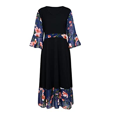 Large Size Chiffon Floral Dress, Chic DIKEWANG Womens V-Neck Wrap Long Sleeve Plus Size Prom Dress: Amazon.co.uk: Shoes & Bags