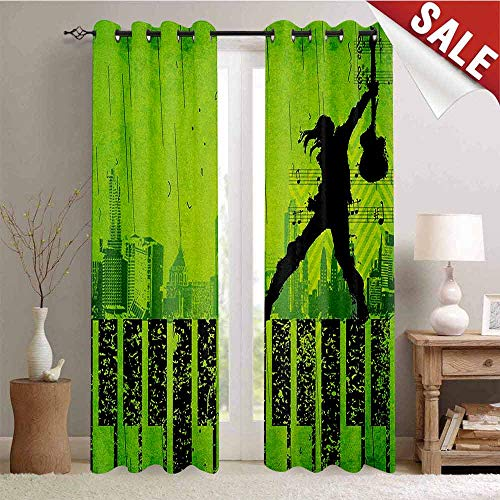 Hengshu Popstar Party Window Curtain Drape Music in The City Theme Singer with Electric Guitar on Grunge Backdrop Customized Curtains W96 x L96 Inch Lime Green Black