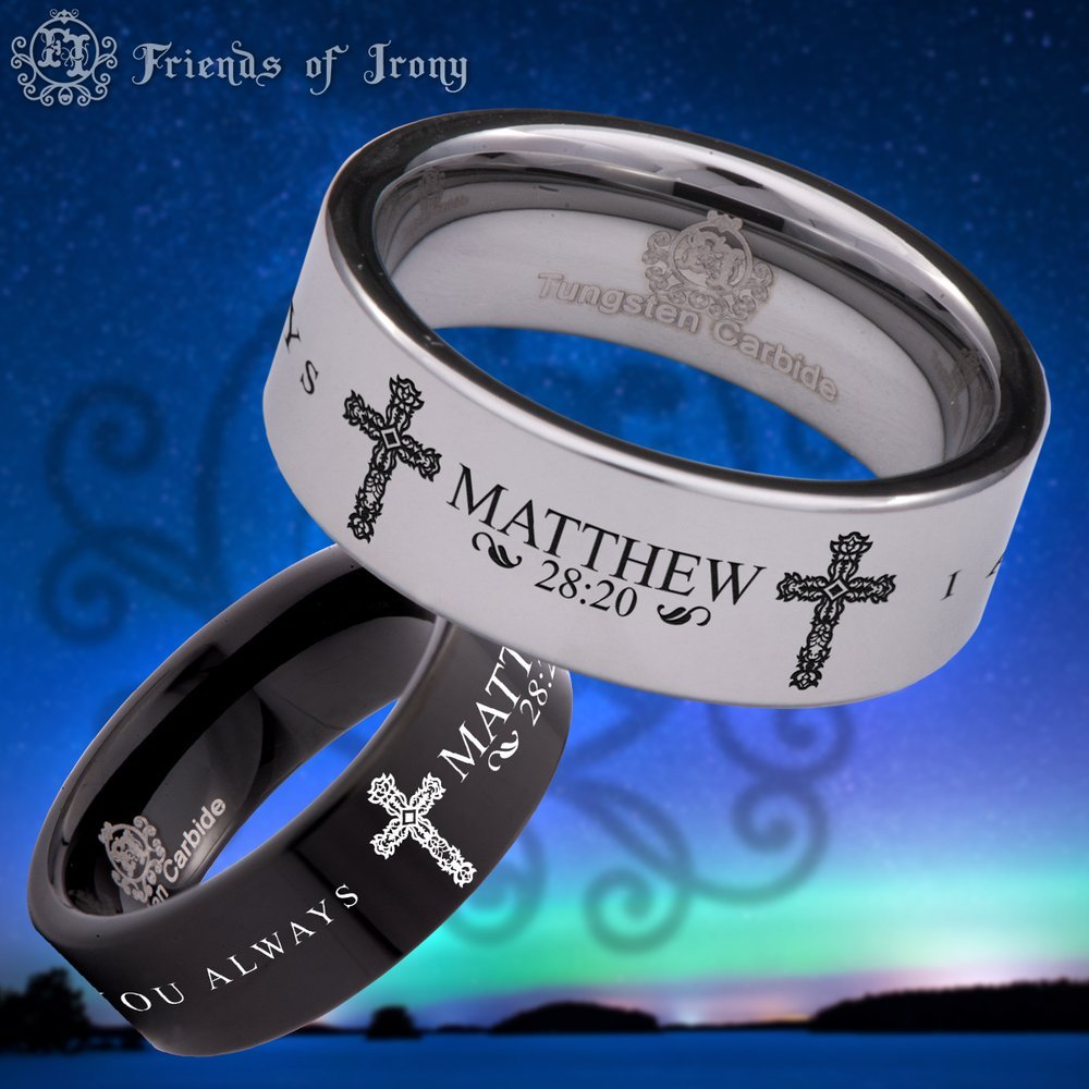 Wedding Band and Anniversary Ring Bible Verse Friends of Irony Black Tungsten Carbide Matthew 28:20 Ring 8mm Designed Fit for Men and Women Use Size 10.5