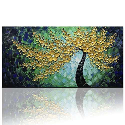"Desihum Green Gold Flowers Wall Art On Canvas Abstract Oil Paintings Textured Modern Artwork Hand Painted Square Picture (24""x48"")"