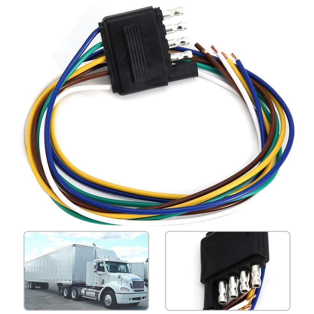 Duokon Plug,5 Pin Flat Plug 5 Way Flat Trailer Wire Harness Extension on