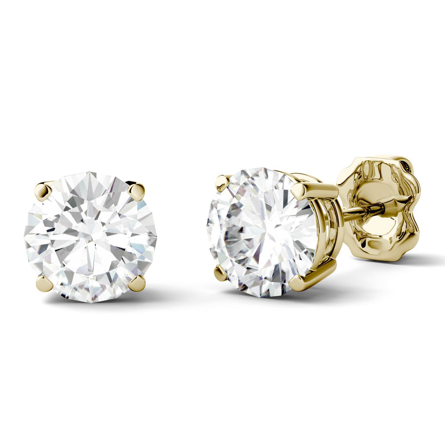 gold round ebay moissanite set stud bezel earrings forever itm brilliant