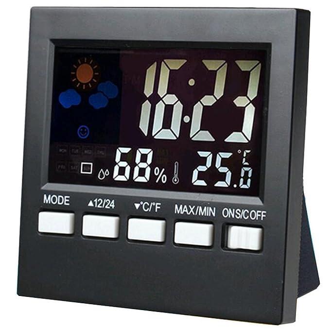 Station météo radio réveil Station météo numérique horloge Éclairage Réveil numérique réveil de voyage avec la date et de la température humidit&eac