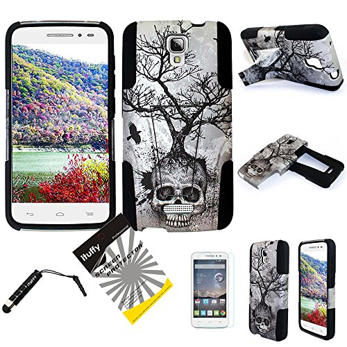 For Alcatel One Touch Pop Astro 5042T (TM) 3items Combo: LCD Screen Protector Film + Stylus Pen + Dual Layer Impact Resistance Hybrid Armor Case Built-In Kickstand (Silver Gray Skull Tree)