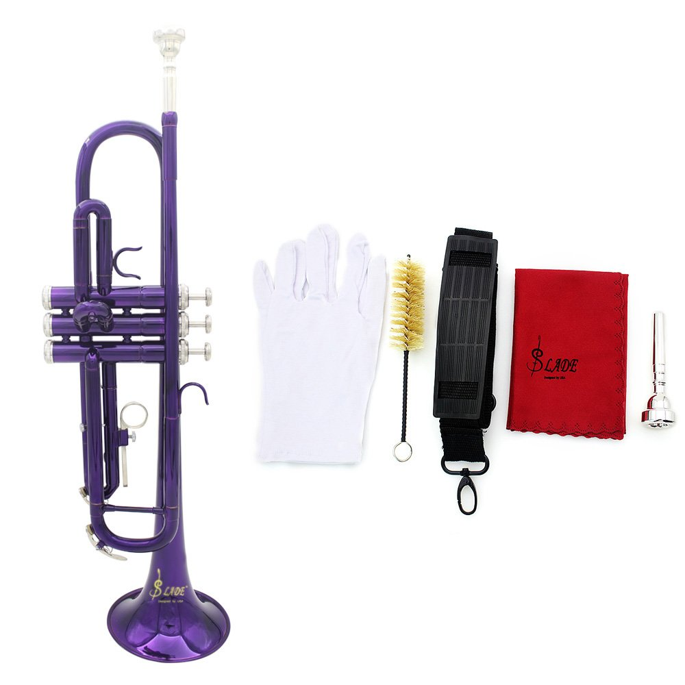 Walmeck Trumpet Bb Brass Trumpet Exquisite with Mouthpiece Cleaning Brush Cloth Gloves Strap