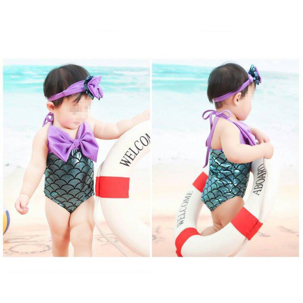 Verypoppa Little Girls One Piece Swimsuit Mermaid Bow Bathing Suit with Headband