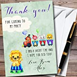 Boys Watercolour Circus Animals Personalized Childrens Birthday Party Thank You Cards