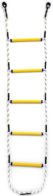 Aoneky Escalera de Cuerda de Escalada para Niños Adultos - Longitud de 1,8M/2,1M/2,4M, Carga de 450kg, Juguete de Escalar para Parque Infantil Jardín, Cuerda de Nylon, Peldaños de Resina (1,8M)