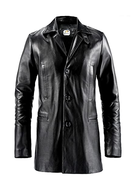 649fd486d ST Black Leather Trench Coat 3 Button Men Max Payne Mark Wahlberg Faux  Designer Jacket Big Tall Boys