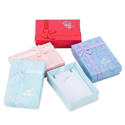 PandaHall-Precio por 12 pcs Cajas de carton colgante con lazo, para collares,