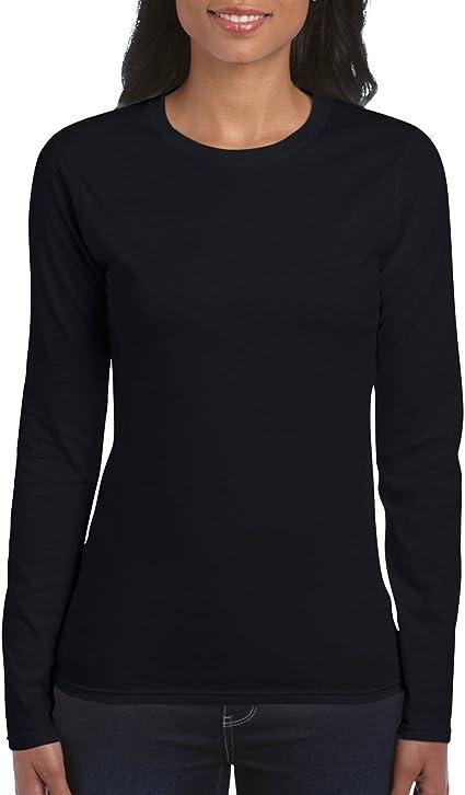 GILDAN SOFTSYLE LADIES LONG SLEEVE T-SHIRT TOP 100/% SOFT COTTON CASUAL WOMEN/'S