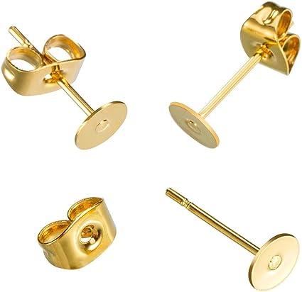 Post Stud Earrings Bezel 14k Gold Filled Earrings Finding Jewelry Supply