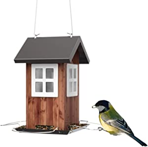 Kingsyard Colorful Bird Feeders House for Outside Hanging Weatherproof Carden Country Backyard Bird House Small Metal 0.8lb Bird Seed Capacity for Finch Cardinal NOT Squirrel Proof, Easy Cleaning