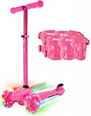 Crazy Skates Joey GLO Pink Juvenile Kids 3 Wheel Scooter with LED Light Up Wheels, Adjustable Height and Steering Includes ProteXion Knee Wrist Elbow Safety Pads