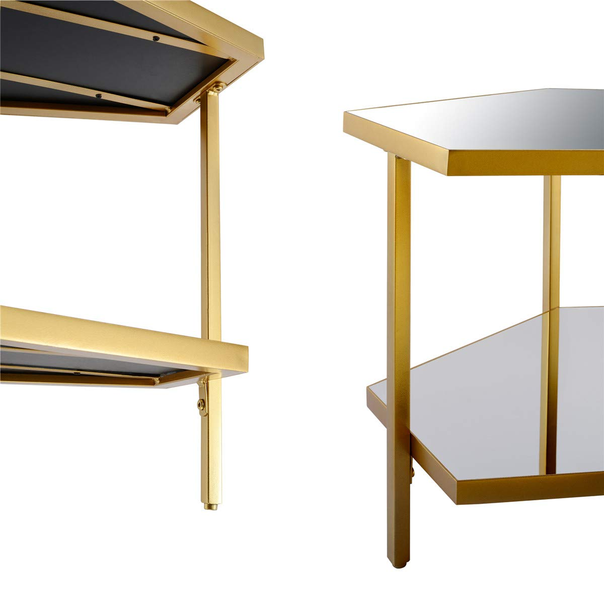 End Table Small Side Table End Table, Mirror Glass, Gold Metal, Save Space Corner Table for Bedroom Living Room