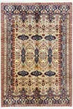eCarpet Gallery Hand-Knotted | Large Area Rug for Living Room, Bedroom | Home Decor Rug | 100% Wool | Keisari Bordered Ivory Rug 6'9' x 9'10' | 281063