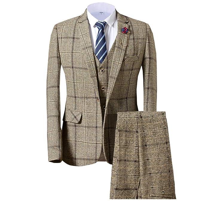 Traje Formal de 3 Piezas de Lana de Tweed para Hombre de Ajuste ...
