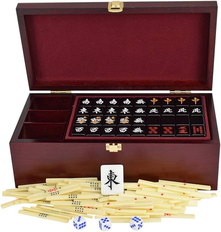 Mah Jong Mahjong144 Cartas Mahjong Box portátil Juego de Mesa multijugador Regalos de Alta Gama Juegos Tradicionales (Color : Black, Size : 27 * 20 * 16mm): Amazon.es: Hogar