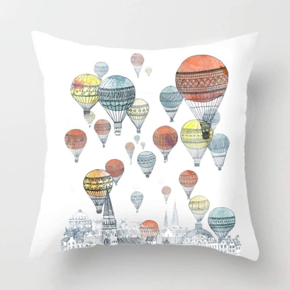 Amazon Com Aremazing Colorful Hot Air Balloon Super Soft Throw Pillow Case Cushion Cover Home Decor 18 X 18 Inches Hot Air Balloon Home Kitchen